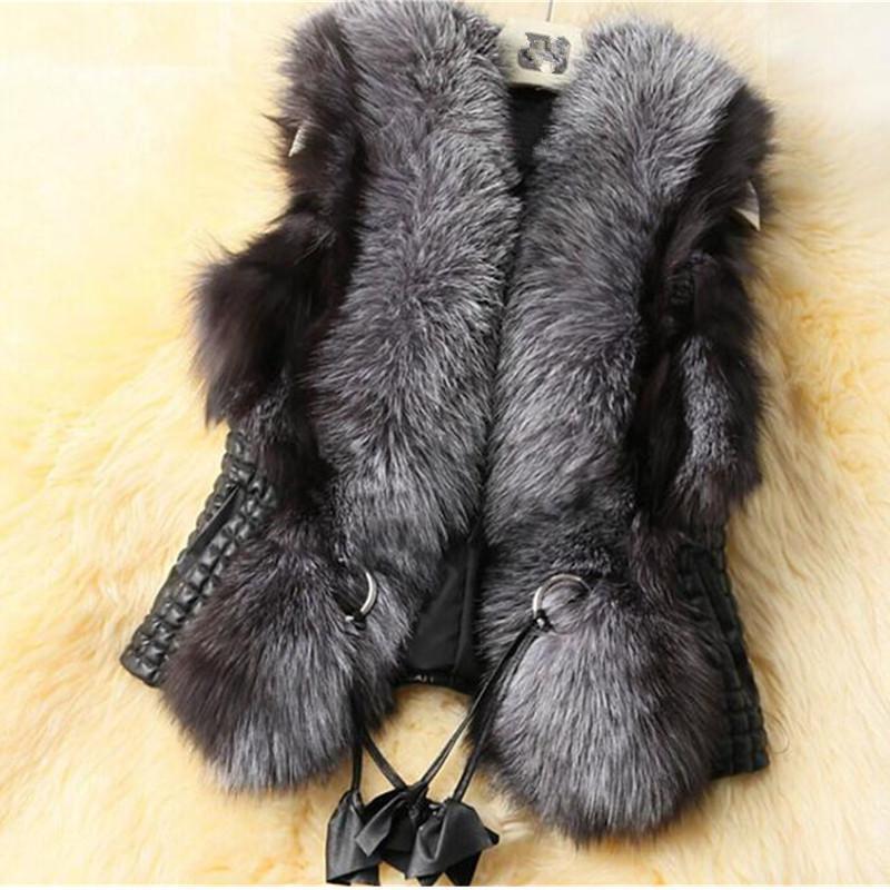 Frauenpelz Faux 2021 Mode Frühling Winter Lederweste Plus Größe 6XL Casual Frauen Mantel Sleeveless Warme Herbst Oberbekleidung Weiblich