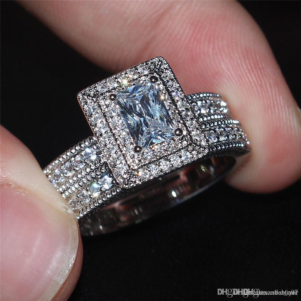 or blanc Viatage 10KT Lady rempli Anneaux carré Simulations pierres précieuses diamants CZ Bagues Ensembles doigt bijoux de mariage mariée pour les femmes