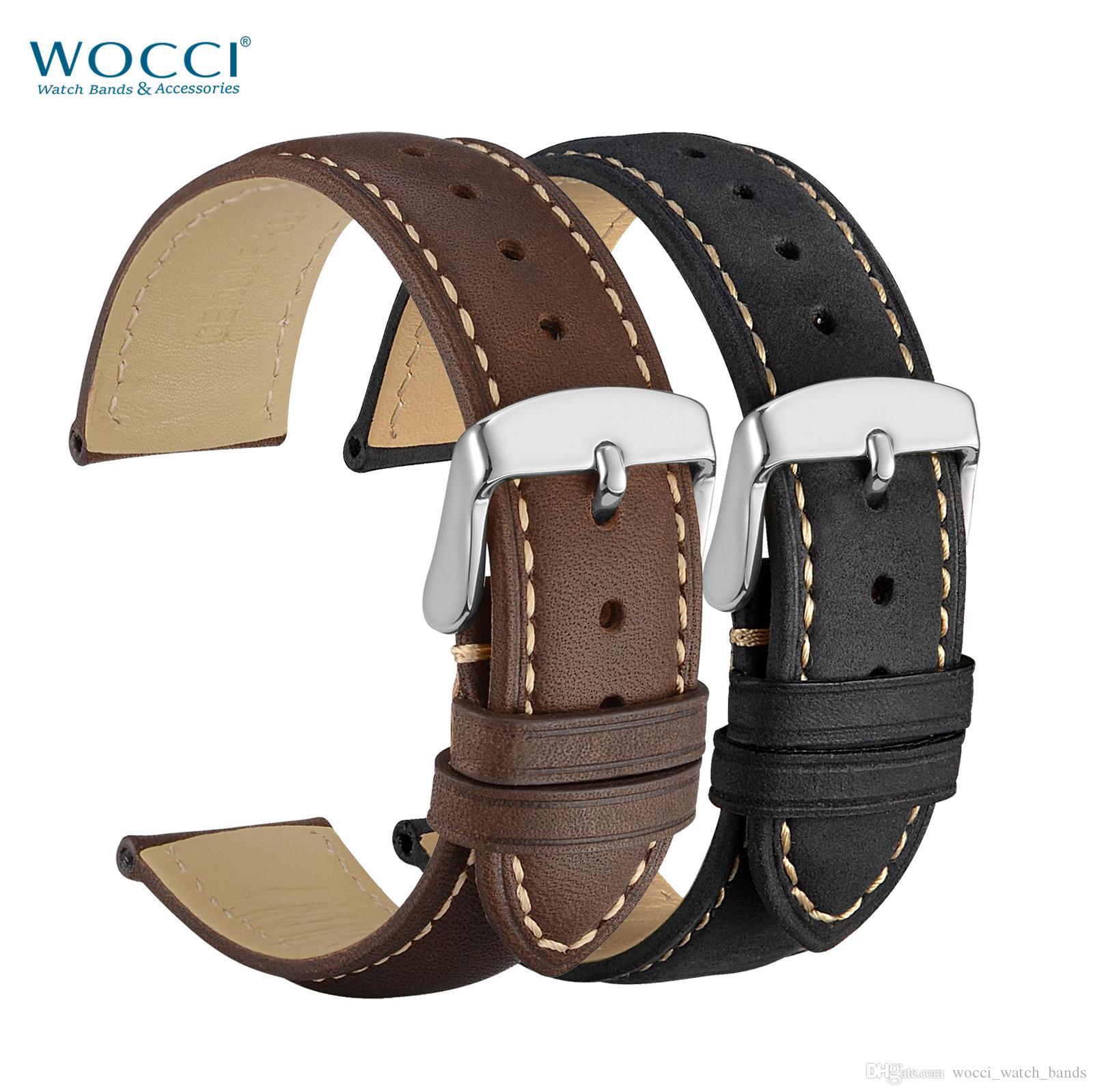 WOCCI Bracelet de montre en cuir véritable Vinatge Style Bandeaux de chevaux fous brun Noir Largeur de bande 14mm 16mm 18mm 19mm 20mm 21mm 22mm 24mm