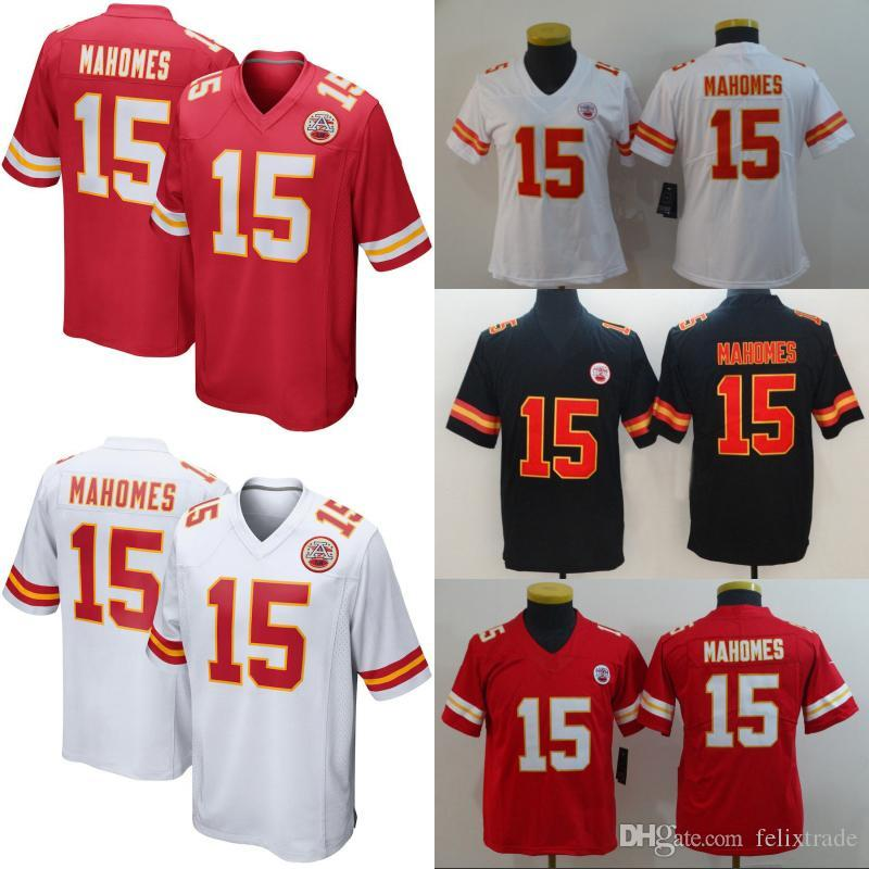 53dfd94d2f3 Men Women Youth KANSAS CITY 15 Patrick Mahomes CHIEFS Double Stiched  Football Jerseys Shirt IN STOCK