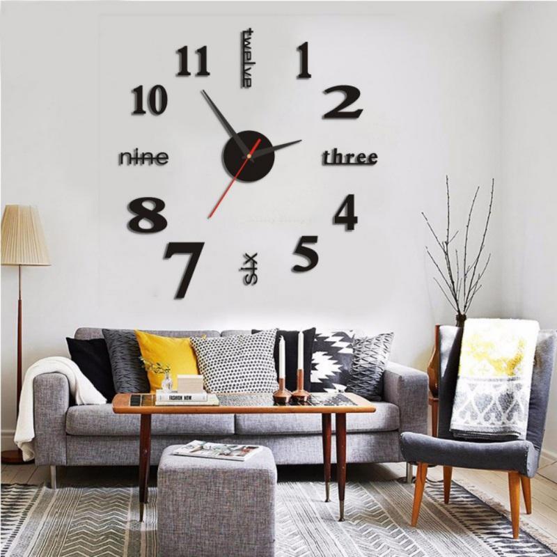 Modern 3D Wall Clock Kitchen Living Clock Decal Sticker Battery Power Red