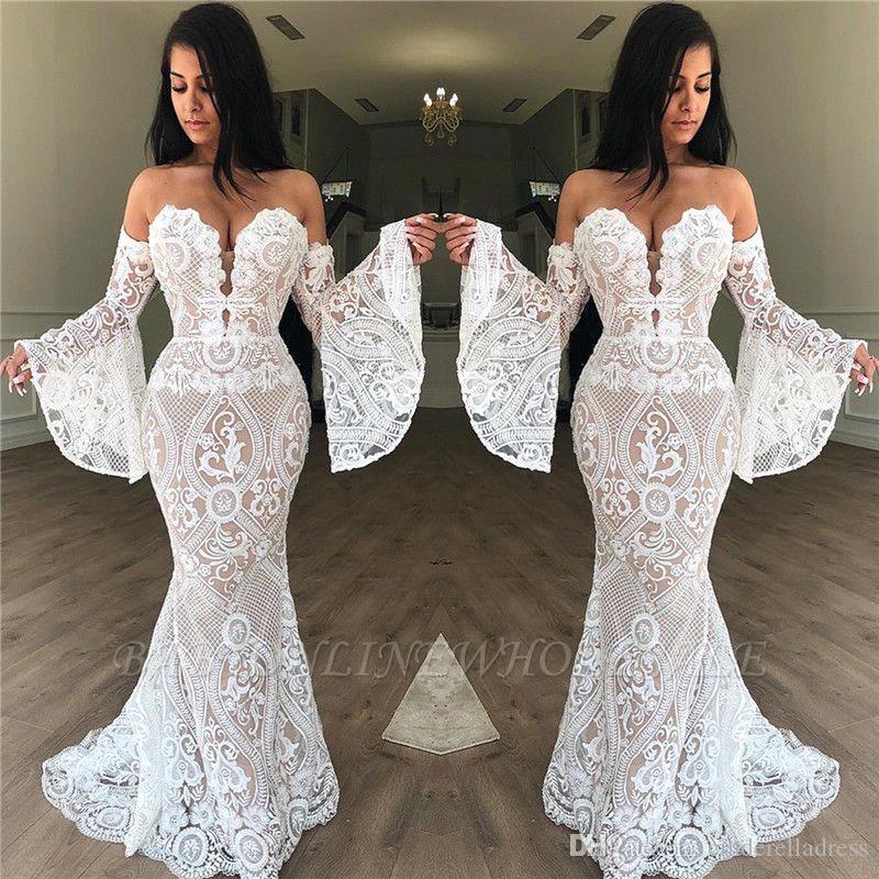 2020 Nova completa Lace Mermaid simples do casamento Vestidos Querida Pagoda luva elegante casamento vestidos de Long Beach Trem da varredura vestido nupcial BC3567