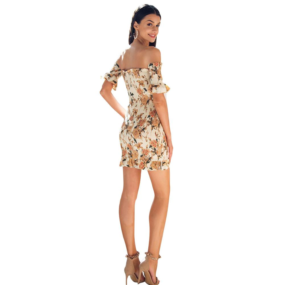 297b5d4b2e2 Sexy Women Short Shirred Dress Off Shoulder Ruffles Bandage Bodycon Dress  2019 Summer New Mini Boho Beach Dress Yellow Vestidos Tight White Dresses  For ...