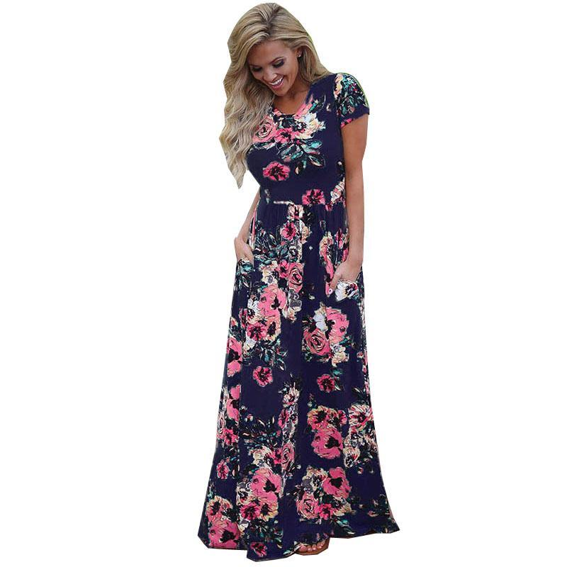 Kadınlar Bohemia Çiçek Baskı Uzun Elbise Kadınlar Kısa Kollu O Boyun Plaj Boho Uzun Elbise Gevşek Maxi Elbise Vestido Artı boyutu Büyük