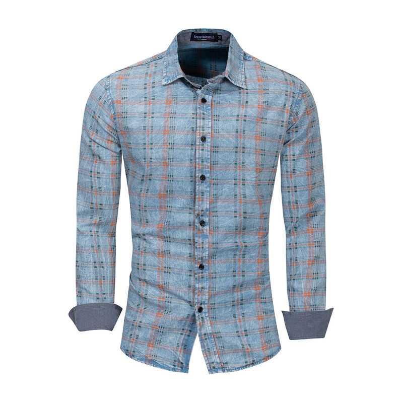 Männer Plaid Printed Shirt aus 100% Baumwolle Frühlings-Herbst-Smart Casual Langarm-Shirt Soft Comfort lose Styles Marke Man Kleidung