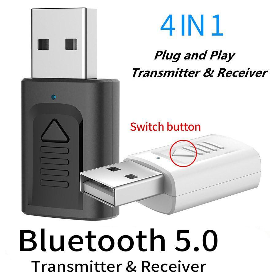 Bluetooth 5.0 Música transmisor receptor 4-en-1 jack de 3,5 mm AUX RCA estéreo adaptador de audio inalámbrico para la televisión del coche del altavoz Hannord USB del PC