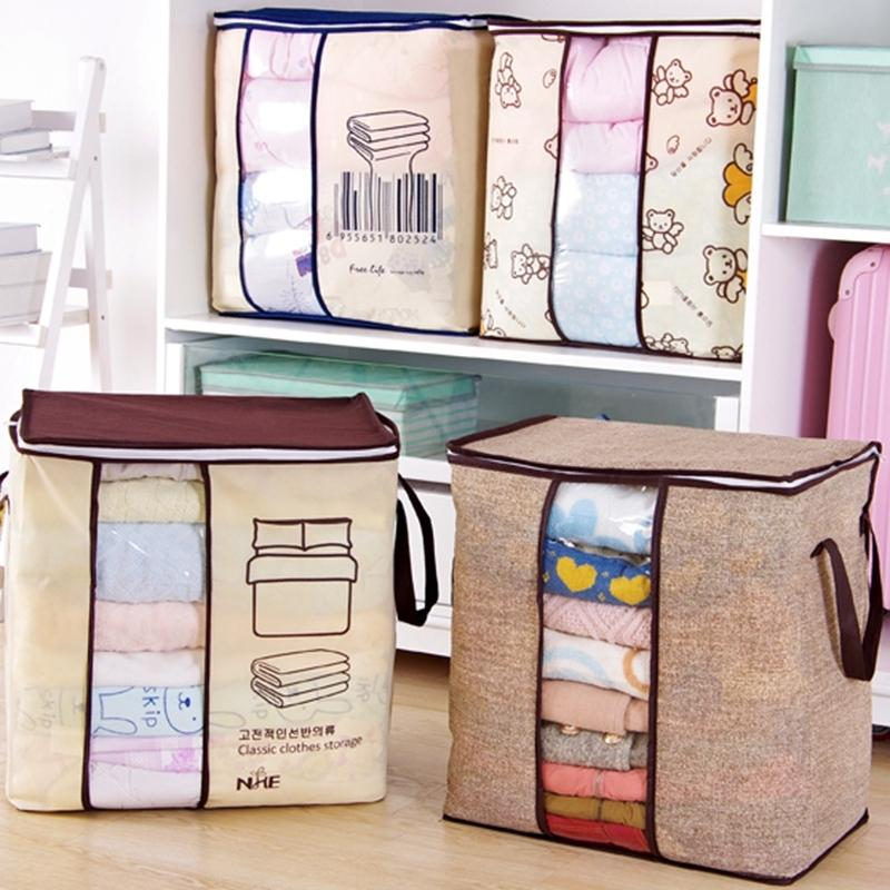 4Pcs Foldable Storage Bag Organizers, Waterproof Anti-Mold Moisture Proof Clothes Storage For Blanket Comforter Bedding, Closet