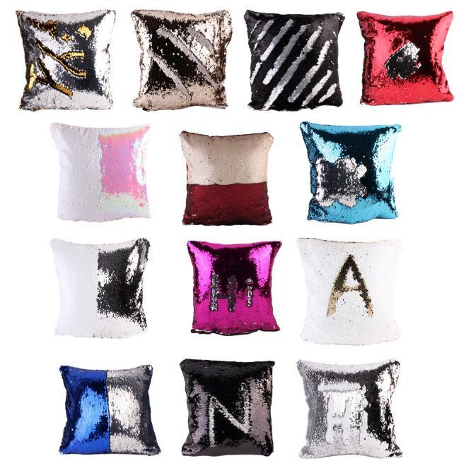 DIY Glitter Mermaid Sequins Cushion Cover Throw Pillowcase Car Home Sofa Decoration Two Color Changing Reversible Cushion Cover