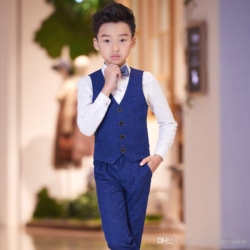 Yeni takım elbise ev sahibi çocuğun ceket takım elbise performans çocuk piyano kostümleri T-shirt + Pantolon + Yelek + Papyon 4 adet Erkek Yelek Suit