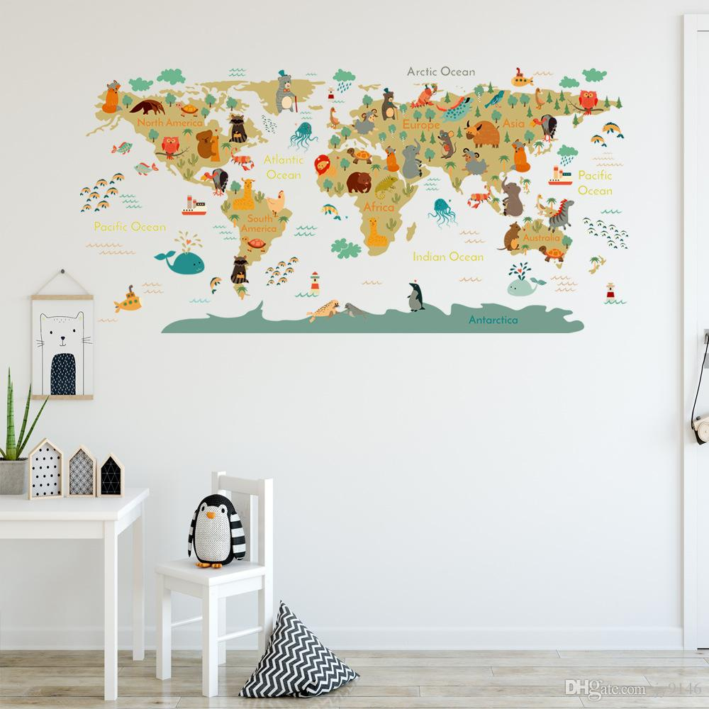 3D Nursery Kids World map Self-adhesive Removable Wallpaper Wall Mural Sticker