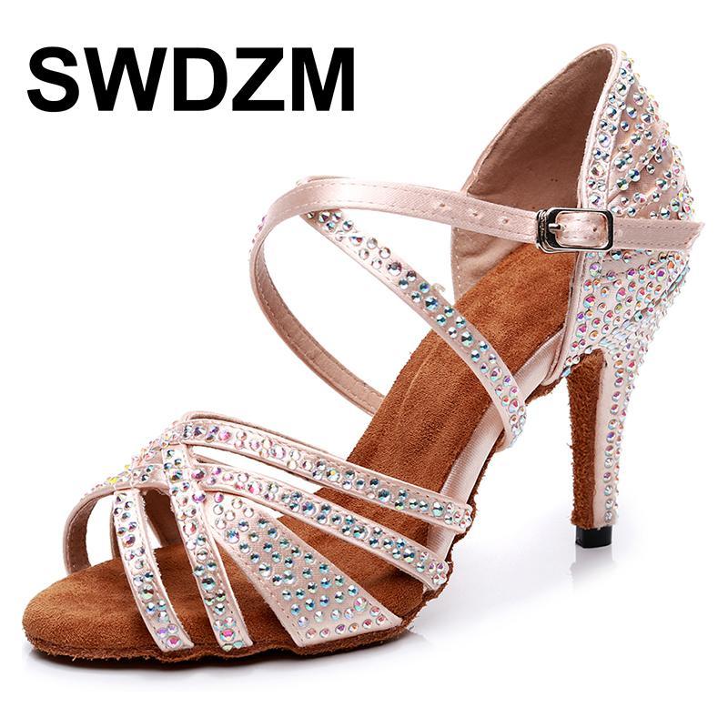 Exquisite rhinestone jazz salsa latin dance shoes for girls dancing, excellent dancers, high heels, summer sandals