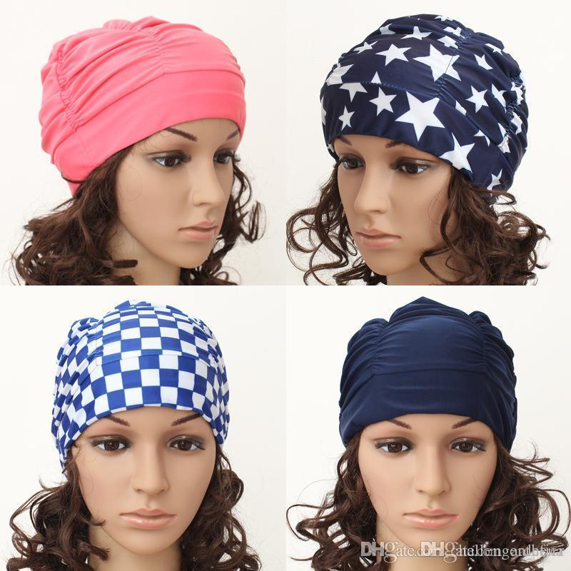 2020 Fashionable cloth pleated larg long hair hot spring cloth swimming cap men's and women's separate swimsuits