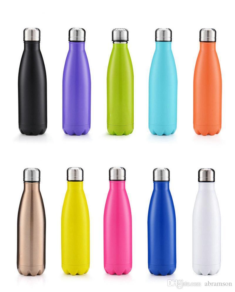 Bouteille d'eau en forme de cola Isolée à double paroi Aspirateur Bouteille thermos à haute luminance et à haute luminance en acier inoxydable sans BPA haute sécurité 500ML 20pcs