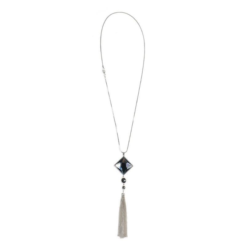 Элегантный и стильный Серебряный квадрат ожерелье бахромой Длинный свитер цепи Женский кулон аксессуары