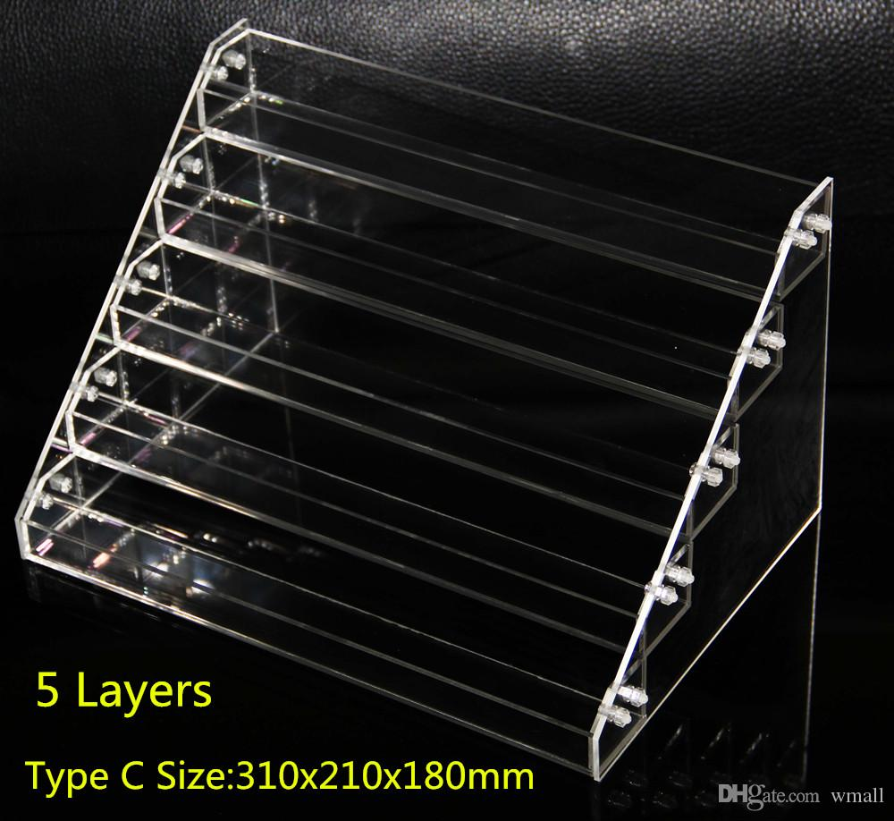 Acrylic e cigs display showcase clear stand show shelf holder rack for 10ml 20ml 30ml 50ml e liquid eliquid e juice needle bottle Mods
