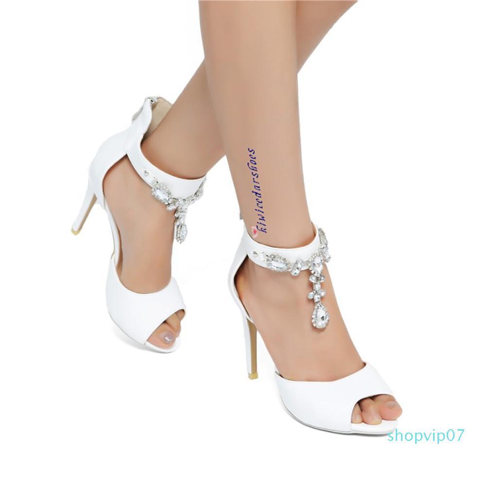 Women High Heel Sandals Square Toe Crystal Ankle Strap Fashion Women Summer Shoes Wedding Club Footwear,Black,6