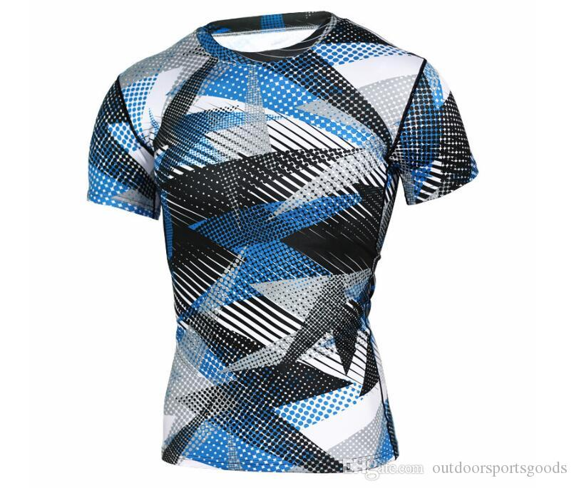 Cool 12 style Camouflage training fitness clothing tights men's sports quick-drying elastic compression short-sleeved T-shirt summer