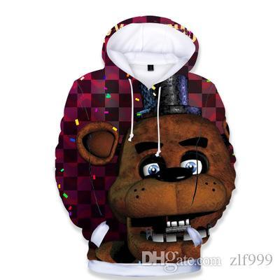 Desconto de alta qualidade 2 aos 14 anos caçoa o Hoodie cinco noites no Freddys camisola Boys / menina com capuz FNAF roupa clássica Hoodie