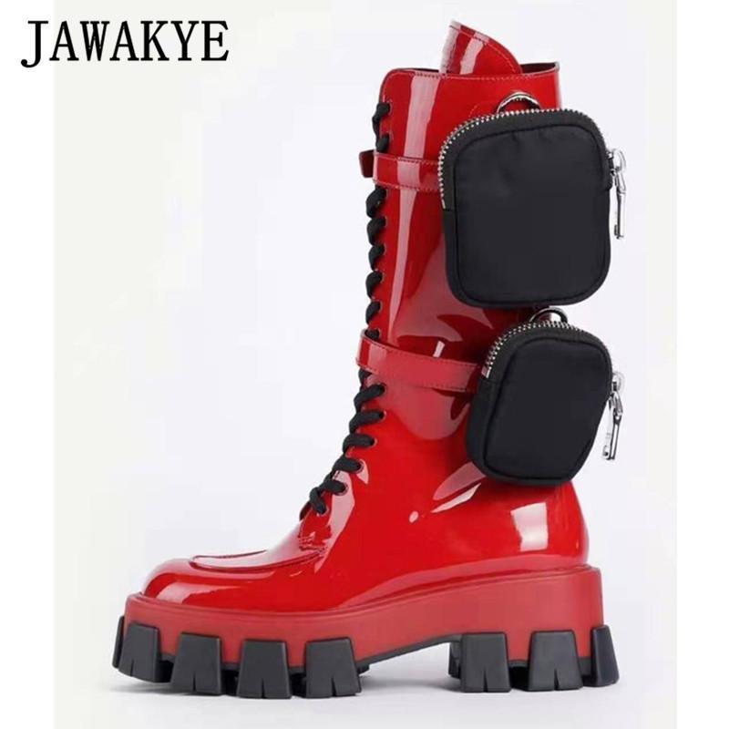 dentelle Hot up Pocket Motorcycle Bottes femmes fond épais Monolithe bottes genou de haute hiver Chaussures Femme Chaussures noires