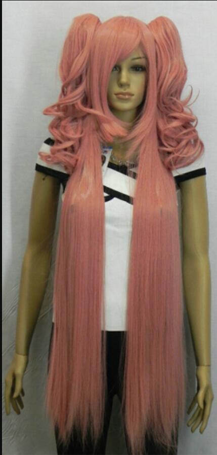 Парик доставка новый длинный молочно-золотой розовый косплей парик с двумя клип на хвостики