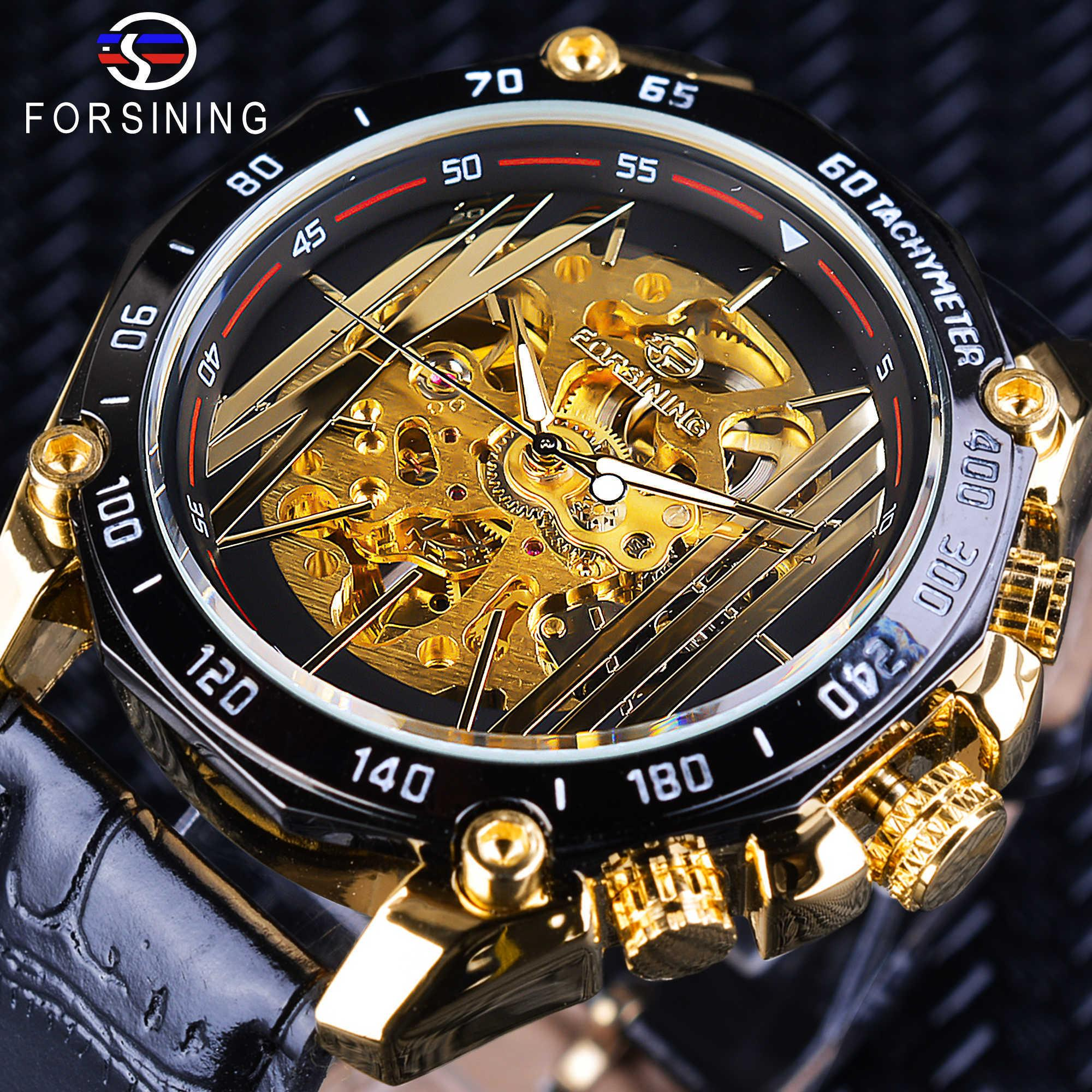 Forsining Big Dial Steampunk Design Luxury Golden Gear Movement Men Creative Openwork Watches Automatic Mechanical Wrist Watches Y19052103