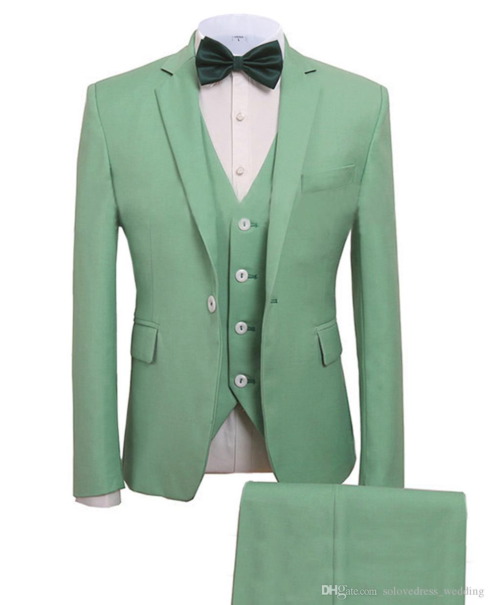 Solovedress Resmi Düğün Erkekler Yeni 3 Parça Damat Smokin Takım Elbise Çentikli Yaka Slim Fit Blazer Groomsmen Suits (Ceket + Pantolon + Yelek)