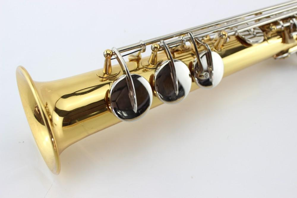 Unbranded Gold Lacquer Brass Soprano Saxophone Straight Pipe Silver Plated Key Sax Instrument With Mouthpiece Case Gloves Free Shipping