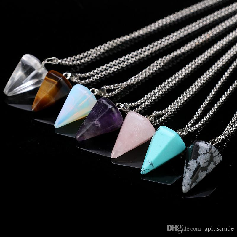 Aplustrade Natural Gemstone Pendant Necklace Crystal Healing Chakra Reiki Silver Stone Hexagonal Prisme Cone Pendulum Charm Necklaces