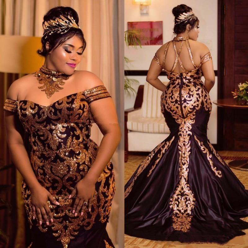 2019 Sparkly Gold Lace Mermaid Abendkleider Pailletten Halfter aus der Schulter plus Größe afrikanische Prom Kleider Sweep Zug Satin