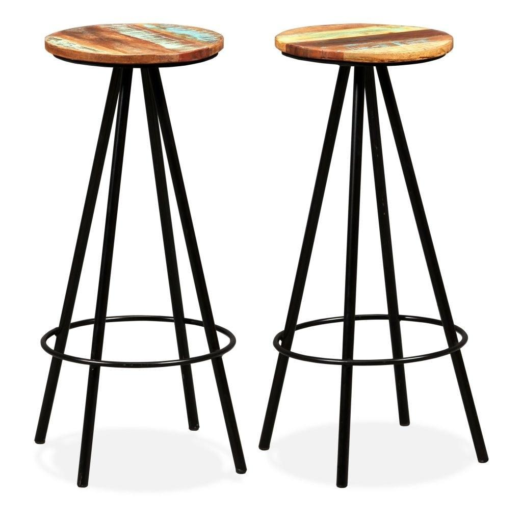 Bar Stools 2 pcs Solid Reclaimed Wood and Steel