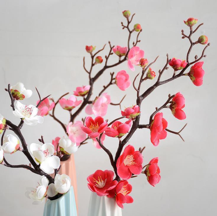 200PCS 매화 벚꽃 실크 인공 꽃 플라스틱 사쿠라 트리 분기 홈 테이블 장식 웨딩 장식 화환 SN969 줄기