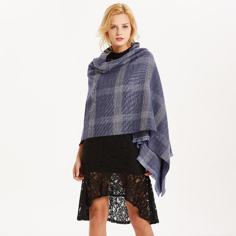 Nuova buona qualità cashmere uomo nappe sciarpa femminile super grande scialle di spessore grande plaid blu scuro caldo asciugamano lungo regalo 2018 inverno
