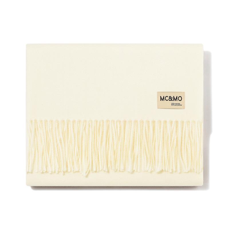 Automne et longs amateurs de pompon de couleur unie hiver écharpe thermique polyvalent châles de monochrome