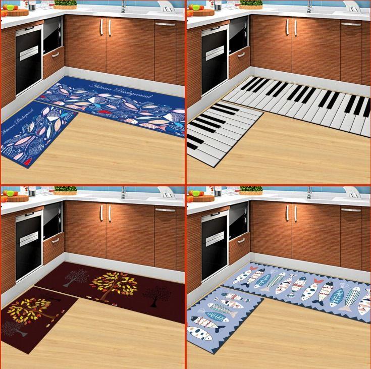 만화 창조적 인 기계 빨 수있는 직사각형 미끄럼 방지 매트 문 매트 부엌 욕실 깔개 침실 머리맡의 카펫 (15.7 * 23.6 인치 + 15.7 * 47.2 전