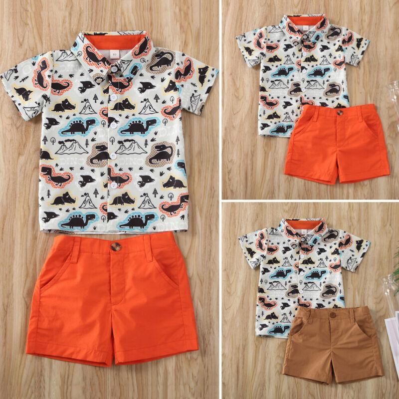 Goocheer 2020 Coton Mode Enfant Vêtements 2Pcs Vêtements pour enfants Baby Boy Dinosaur manches courtes Tops + Shorts Pantalons Outfit formelle