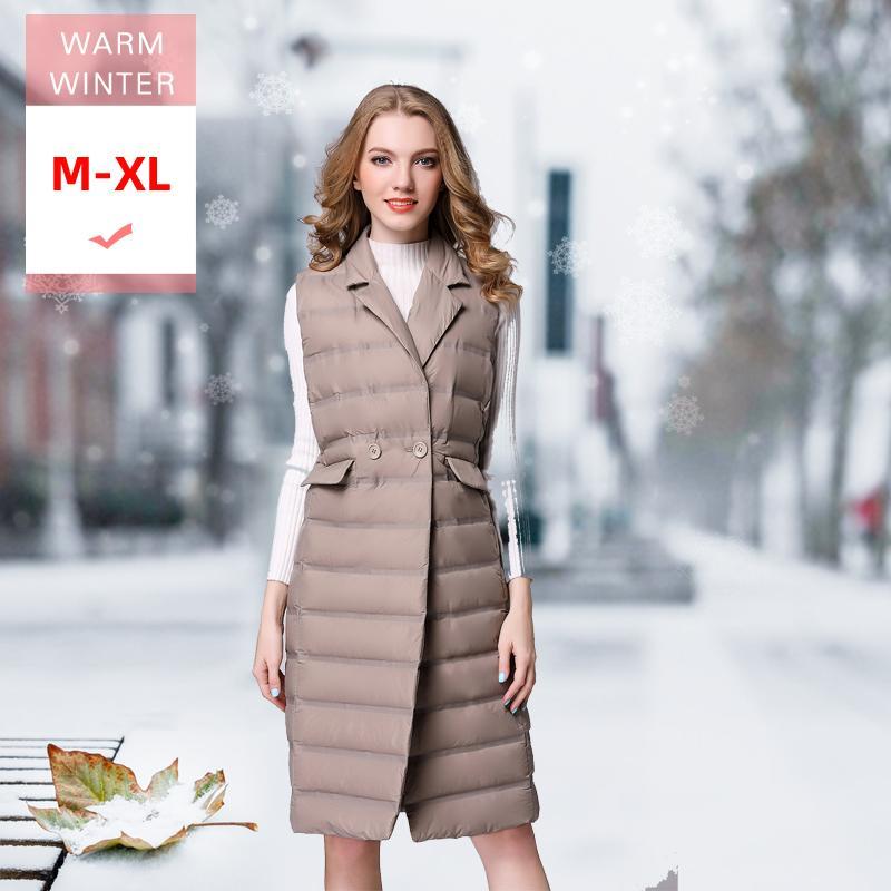 Le donne Moda bianco dell'anatra giù lungo maglia femminile ultra leggero Warm maniche giù ricoprono il Turn-down Collar Giacca monopetto