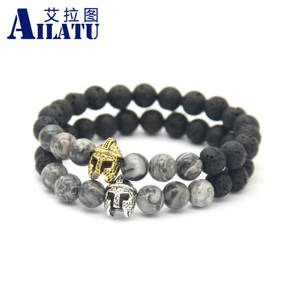 Ailatu New Roman Spartan Warrior Helmet Bracelet for Men with 8mm natural stone beads