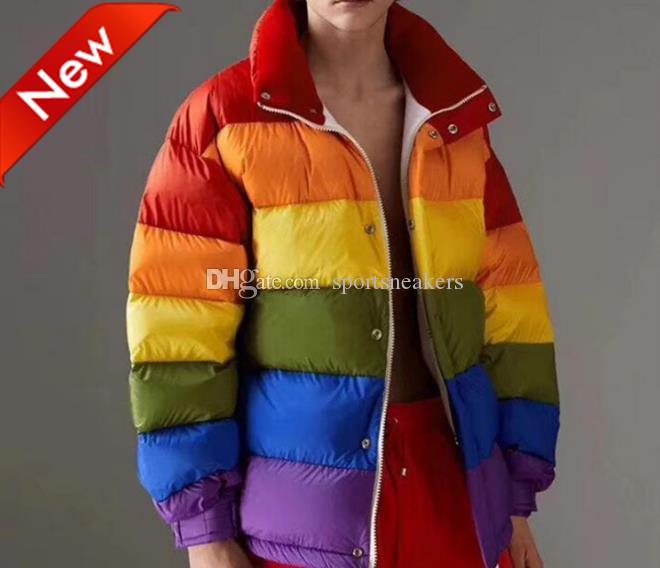 INS fashion Rainbow color hiver épais pain doudoune pour les hommes et les femmes lâche veste