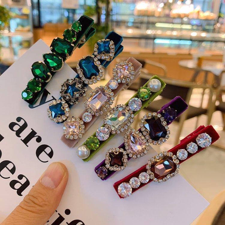 2020 lumières de luxe strass pinces cheveux pour femmes élégantes barrettes de velours 6 couleurs avec de grand zircon mode femme bijoux