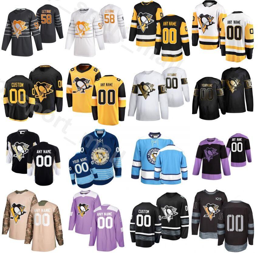 Personalizado Pittsburgh Penguins 2020 Lutas Câncer 24 Dominik Kahun Jerseys Homens Hóquei no Gelo 6 John Marino 13 Brandon Tanev 12 Dominik Simon