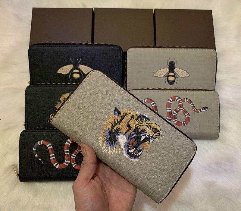2019 Nuovo di alta qualità animale all'ingrosso di modo lungo cerniera uomini e donne portafoglio in pelle di serpente titolare della carta tigre ape scatola originale portafoglio M60017