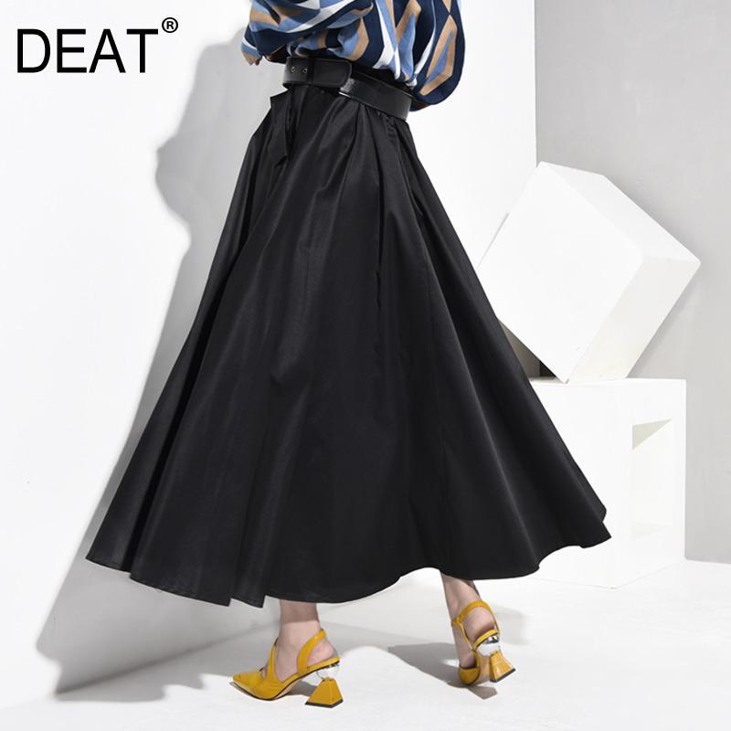 DEAT Yüksek Bel Siyah Düğme Dekorasyon bel kemeri Uzun Yarım Vücut Etek Siyah Kadın Moda Tide Yeni İlkbahar Sonbahar 2020 JY5070