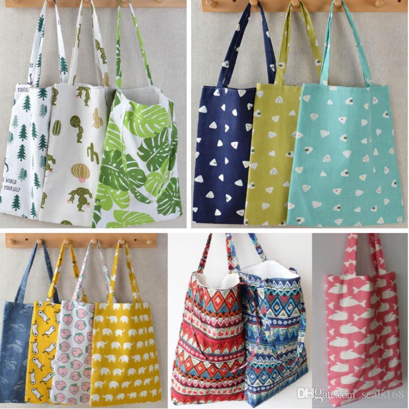Reusable Grocery Bags Women Simple Shoulder Bag Designer Shopping Bag Large Capacity Cotton Linen Beach Bags Free DHL HH9-2097