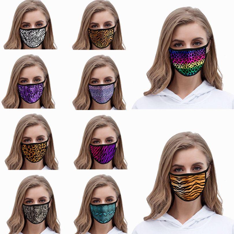Máscara Facial Impressão animal Cotton Gaze anti-poeira reutilizável lavável Máscara Leopard 3D Impresso Adulto Moda Máscaras Designer HHA1432