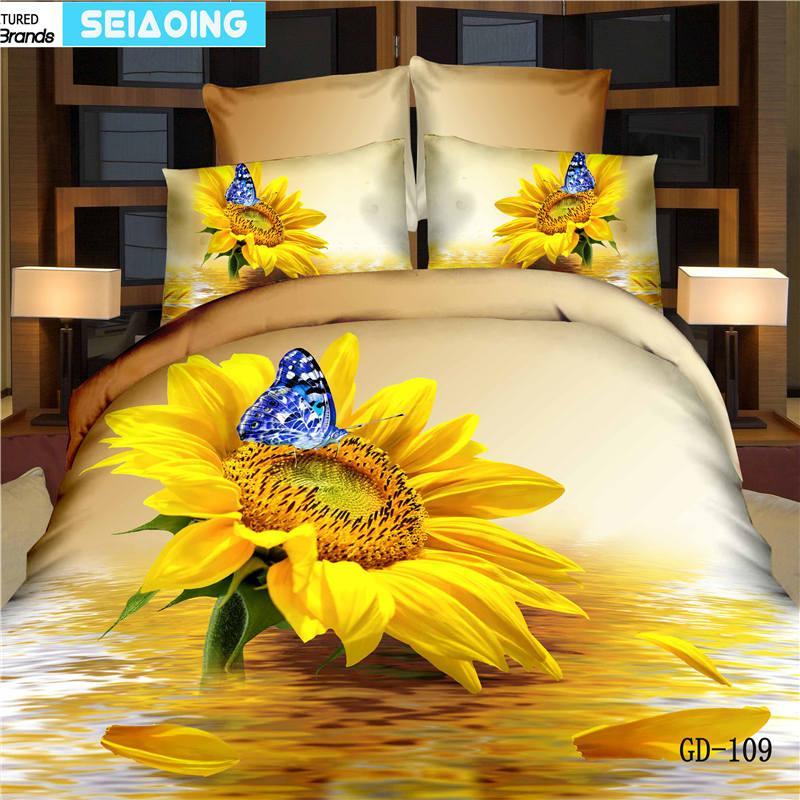 couvre-lit papillon jaune tournesol 4 / 5pc 100% lit en coton linge huile 3d peinture Literie housse de couette reine roi de doona