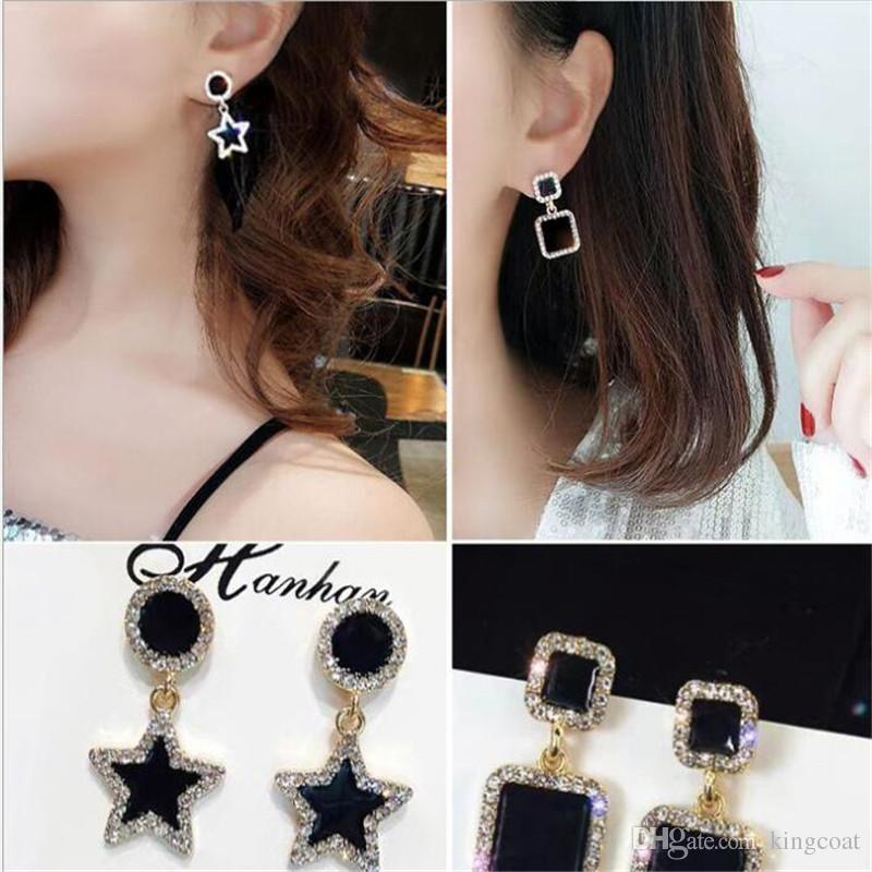 Persönlichkeit Designer Frauen Marke Ohrringe INS Mode Diamant Shinning Dame Ohrstecker Outdoor Trendy Muster Mädchen Charme Ohrring