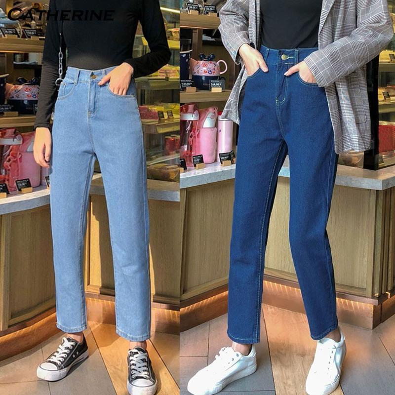 2020 Sommer neue High Waist Jeans mit geradem Schnitt Frauen Herbst blau beiläufige lose breite Bein-Jeans-Hose Gestreifte Palazzo Hosen # J3