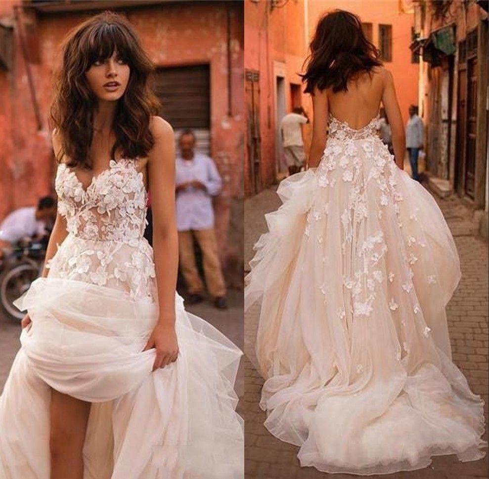Spaghetti Tiered Skirt Backless Plus Size Elegant Garden Country Toddler Bridal Gowns Liz Martinez Beach Wedding Dresses 3D Floral Applique