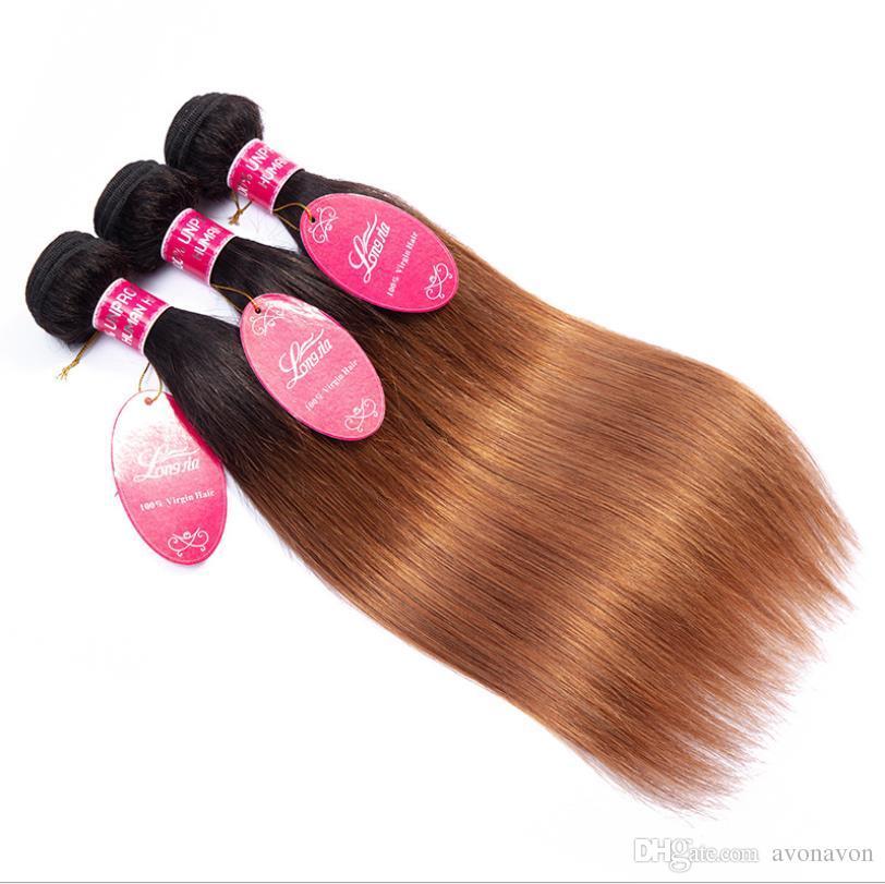 Tb/30 Long hairs Ombre Human Hair Bulks Bundles Brazilian Hair Weave Bundles Straight Body Wave for black women FZP221
