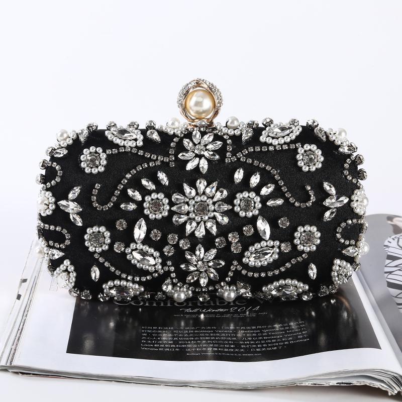 Commercio all'ingrosso bellissima borsa diamante di sera epoca fatti a mano di perline pochette di raso per porm banchetto di nozze del partito (più colori)